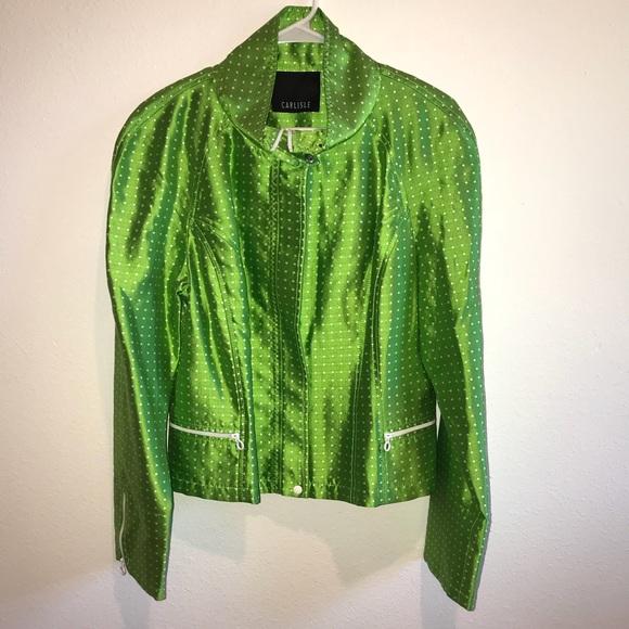 58578f17d0e Carlisle Jackets & Blazers - Carlisle NEW 100% silk green dot zip up jacket